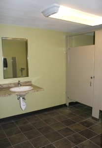 Barrier-free restrooms available on main level